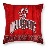 Ohio State Buckeyes Barn Door Vignette Throw Pillow