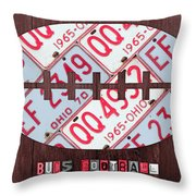 Ohio State Buckeyes Football Recycled License Plate Art Throw Pillow
