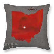 Ohio State University Buckeyes Columbus Ohio College Town State Map Poster Series No 005 Throw Pillow