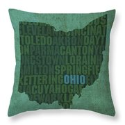 Ohio State Word Art On Canvas Throw Pillow