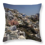 Oia By Day Throw Pillow
