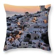 Oia Town During Sunset Throw Pillow