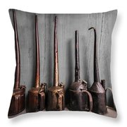 Oil Can Collection Throw Pillow by Debra and Dave Vanderlaan
