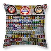 Oil Cans And Gas Signs Throw Pillow by Garry Gay