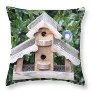 Oil Paint - Blue Bird Throw Pillow