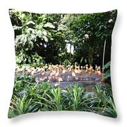 Oil Painting - A Number Of Flamingos Surrounded By Greenery In Their Enclosure  Throw Pillow