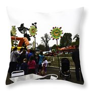 Oil Painting - A Table Along With The Dragon Coaster At The Blair Drummond Safari Park Throw Pillow