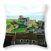 Oil Painting - Aerial View Of Dover Castle Throw Pillow