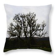 Oil Painting - An Old Tree In The Middle Of A Garden And Playground Throw Pillow