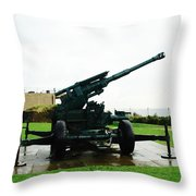 Oil Painting - Anti Aircraft Gun At Dover Castle Throw Pillow
