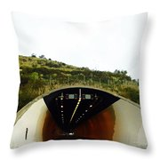 Oil Painting - Approaching A Tunnel Throw Pillow