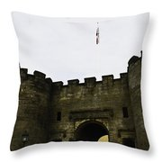 Oil Painting - British Flag Over A Doorway Inside The Stirling Castle Throw Pillow