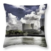 Oil Painting - Buildings Along The Waterfront In Singapore Throw Pillow