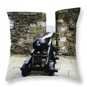 Oil Painting - Cannons And Cannon Balls At Walls Of Stirling Castle Throw Pillow