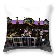 Oil Painting - Children And Adults At The Merry Go Round Inside The Blair Drumm Throw Pillow
