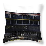 Oil Painting - Construction Work Ongoing For The Formula One Race In Singapore Throw Pillow