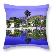 Oil Painting - Cottages And Lagoon Water Throw Pillow