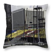 Oil Painting - Floating Platform And Construction Site In The Marina Bay Area Throw Pillow