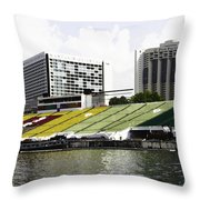 Oil Painting - Floating Platform In The Marina Bay Area In Singapore Throw Pillow