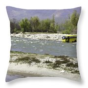 Oil Painting - Front Part Of School Bus In A Mountain Stream On The Outskirts Of Srinagar Throw Pillow
