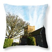Oil Painting - Lighthouse And Church Inside Dover Castle Throw Pillow