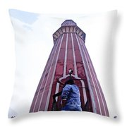 Oil Painting - Minaret Inside Jama Masjid Throw Pillow