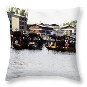 Oil Painting - Multiple Families Relaxing In Multiple Shikaras In The Dal Lake Throw Pillow