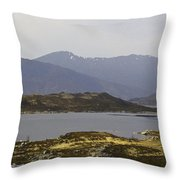 Oil Painting - Rugged Shoreline And Waters Of A Loch In The Scottish Highlands Throw Pillow