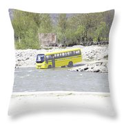 Oil Painting - School Bus In A Mountain Stream On The Outskirts Of Srinagar Throw Pillow