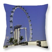 Oil Painting - Singapore Flyer And Marina Bay Sands Along With Preparation For  Throw Pillow