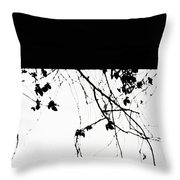 Oil Painting - Small Plant Branches Falling Over A Ledge - Horizontal Throw Pillow