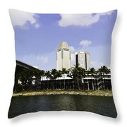 Oil Painting - Span Of The Benjamin Sheares Bridge With Its Pillars In Singapor Throw Pillow