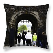 Oil Painting - Staff And Tourists At The Entrance Of Stirling Castle Throw Pillow
