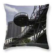Oil Painting - The Bayfront Bridge And Helix Bridge In Singapore Throw Pillow