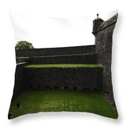 Oil Painting - The Depth Of The Moat Now Covered With Grass At Stirling Castle Throw Pillow
