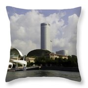 Oil Painting - The Swissotel Is A Tall Hotel In Singapore Next To The Esplanade Throw Pillow