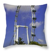 Oil Painting - The Wheel Of Singapore Flyer Throw Pillow