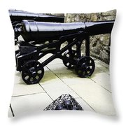 Oil Painting - Tourists And Cannons With Ammunition At The Wall Of Stirling Castle Throw Pillow