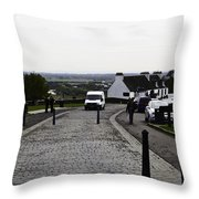 Oil Painting - Van Approaching The Entrance Of The Stirling Castle In Scotland Throw Pillow