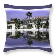 Oil Painting - View Of The Cottages And Palm Trees Throw Pillow
