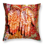 Oil Painting - Wonderfully Decorated Hands Of A Bride Throw Pillow