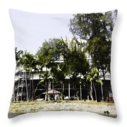 Oil Painting - Workers Preparing The Stands For The Formula One Race In Singapore Throw Pillow