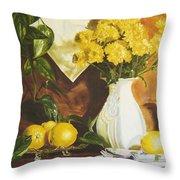 oil painting print of art for sale Golden Lemons  Throw Pillow