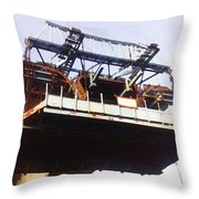 Oil Painting - Bridge As A Part Of Construction Throw Pillow