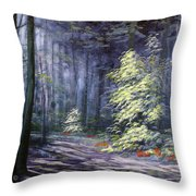 Oil Painting - Forest Light Throw Pillow