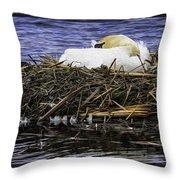 Oil Painting Nesting Swan Michigan Throw Pillow
