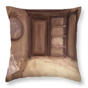 Oil Painting Of A Bedroom/ Digitally Painting Throw Pillow