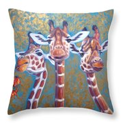 Oil Painting Of Three Gorgeous Giraffes Throw Pillow