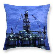 Oil Rig At Twilight Throw Pillow by Bradford Martin