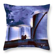 Oil Storage Tanks 2 Throw Pillow